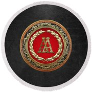 Aa Initials - Gold Antique Monogram On Black Leather Round Beach Towel