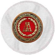 Aa Initials - Gold Antique Monogram On White Leather Round Beach Towel