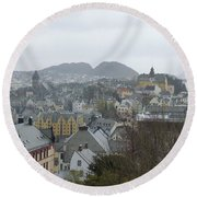 Aalesund From Above Round Beach Towel