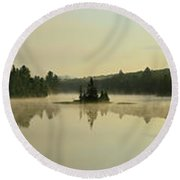 Abanakee Lake Sunrise Fog 180 Degree Round Beach Towel