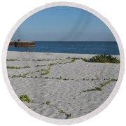 Abandonded Pier Round Beach Towel