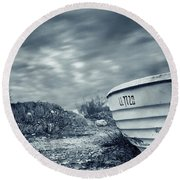 Abandoned Boat Round Beach Towel