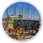 Abandoned Covered Wagon Round Beach Towel