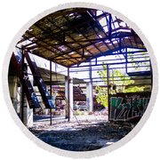 Abandoned Factory Round Beach Towel