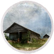 Abandoned Farm Home - Kansas Round Beach Towel