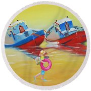Abandoned Fishing Boats Tavira Round Beach Towel