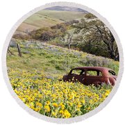 Abandoned Ford Buried In Wildflowers Round Beach Towel