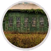 Abandoned Green Sugar Mill Building Dsc04353 Round Beach Towel