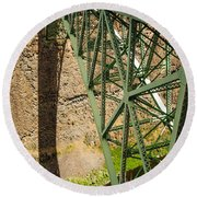 Abandoned Highway Vertical Round Beach Towel