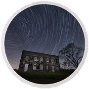 Abandoned History Star Trails Round Beach Towel by Michael Ver Sprill