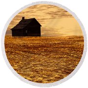 Abandoned Homestead Series Golden Sunset Round Beach Towel