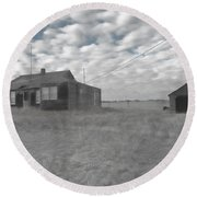 Abandoned Homestead Series Selective Color Round Beach Towel