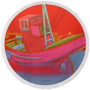 Abandoned Red Fishing Trawler Round Beach Towel