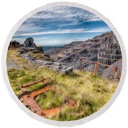 Abandoned Slate Quarry Round Beach Towel