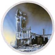 Abandoned Slaughterhouse In Winter Round Beach Towel