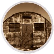 Abandoned Storage Shed Round Beach Towel