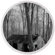Abandoned Sugar Shack In Black And White Round Beach Towel