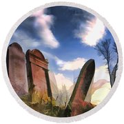 Abandoned Tombstones On The Prairie Round Beach Towel