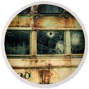 Abandoned Train Car Round Beach Towel