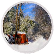 Abandoned Winter Tractor Round Beach Towel