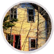 Abandoned Yellow House Round Beach Towel