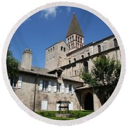 Abbey Church St. Philibert - Tournus Round Beach Towel