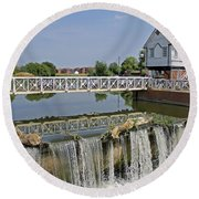 Abbey Mill And Weir Round Beach Towel