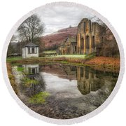 Abbey Reflection Round Beach Towel by Adrian Evans