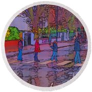 Abbey Road Crossing Round Beach Towel