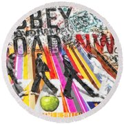 Abbey Road Round Beach Towel by Mo T