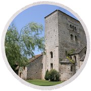 Abbey Ruin - Burgundy Round Beach Towel