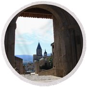 Abbey Through Doorway - Cluny Round Beach Towel