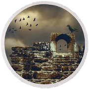 Abbey Wall Round Beach Towel
