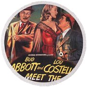 Abbott And Costello Meet The Invisible Man  Round Beach Towel