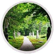 Abby Aldrich Rockefeller Path Statuary Round Beach Towel