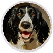 Abby's Sweet Smiling Face Round Beach Towel