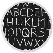 Abc On A Chalkboard Round Beach Towel