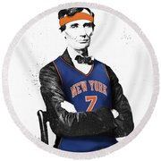 Abe Lincoln In A Carmelo Anthony New York Knicks Jersey Round Beach Towel