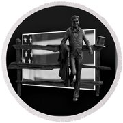 Abe Lincoln In Black And White Round Beach Towel