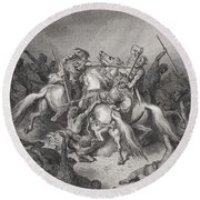 Abishai Saves The Life Of David Round Beach Towel by Gustave Dore