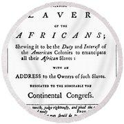 Abolitionist Tract, 1776 Round Beach Towel