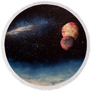 Above Alien Clouds Round Beach Towel