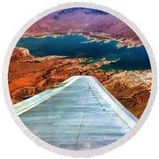 Above Lake Mead By Diana Sainz Round Beach Towel