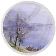 Above Montreux Round Beach Towel
