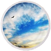 Above The Clouds - American Bald Eagle Art Painting Round Beach Towel by Sharon Cummings