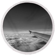 Above The Clouds Bw Round Beach Towel