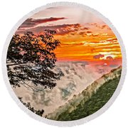 Above The Clouds - Paint Round Beach Towel