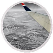 Above The Clouds Wing Tip View Sc Round Beach Towel
