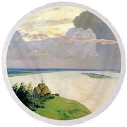 Above The Eternal Peace Round Beach Towel by Isaak Ilyich Levitan