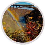 Above The Falls Round Beach Towel
